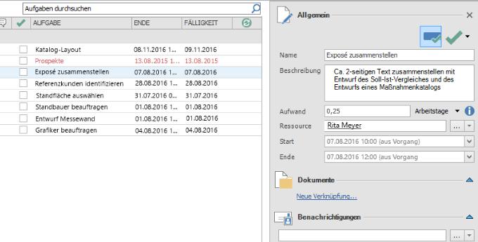 InLoox 9 Rückmeldung zum Projektfortschritt