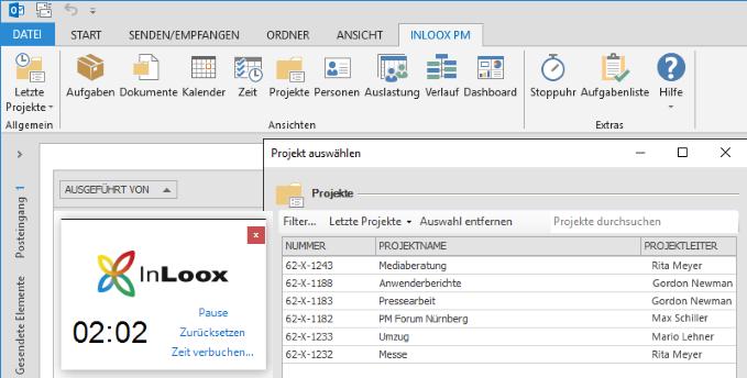 InLoox Arbeitszeiterfassung mit Stoppuhr