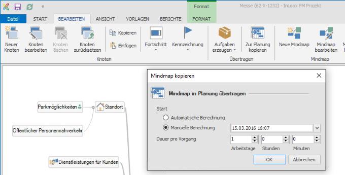 InLoox Übergabe in die Zeitplanung und in die Aufgaben