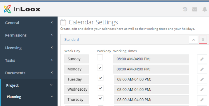 InLoox 9 Working Time Calendars
