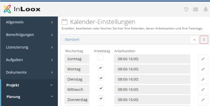 InLoox 9 Arbeitszeitkalender