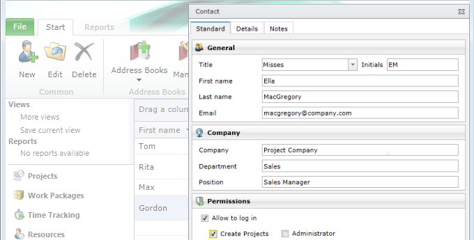 InLoox PM Contacts