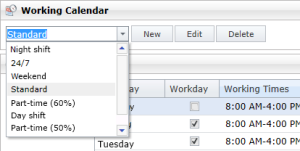Individual working time calendars