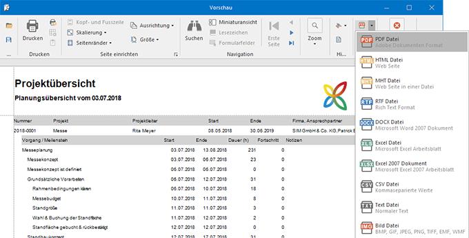 Berichte und Projektreporting in InLoox für Outlook: Erstellen Sie auf Knopfdruck aussagekräftige Projektberichte, Budgetlisten, Aufwandsübersichten und mehr.