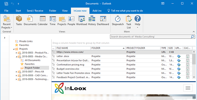 Document management in InLoox for Outlook: Keep your file or sharepoint server tidy & keep track of your project documents