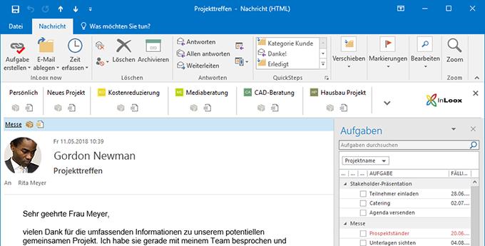 Synchronisierung mit Outlook: InLoox für Outlook vernetzt Aufgaben, Termine, E-Mails und Kontakte in Outlook direkt mit relevanten Projektinformationen.