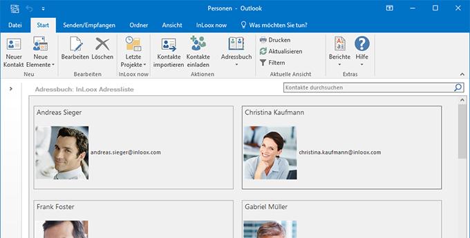 Kontaktmanagement in InLoox für Outlook:  Zur bequemen Verwaltung von InLoox Kontakten stehen eine eigene Kontaktansicht sowie InLoox Adressbücher zu Verfügung.