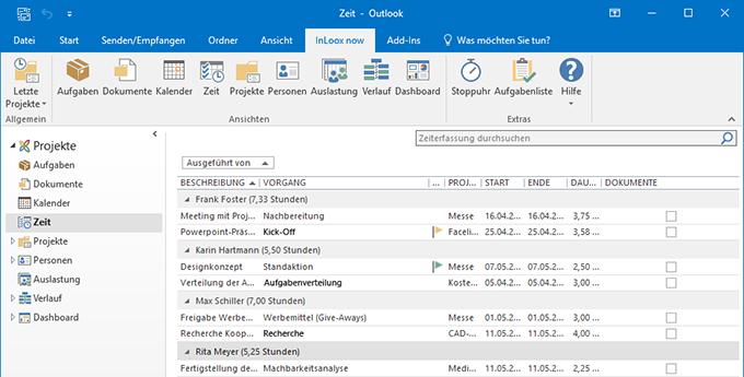 Zeiterfassung mit InLoox für Outlook: Erfassen Sie Aufwendungen direkt in Outlook