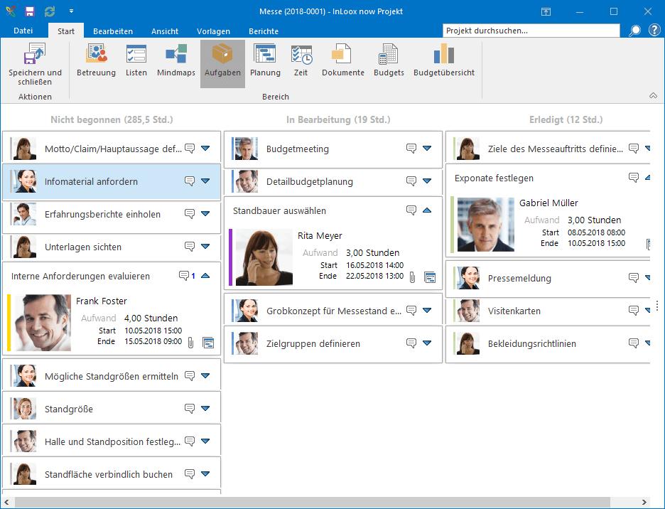 InLoox für Outlook - Kanban-Board