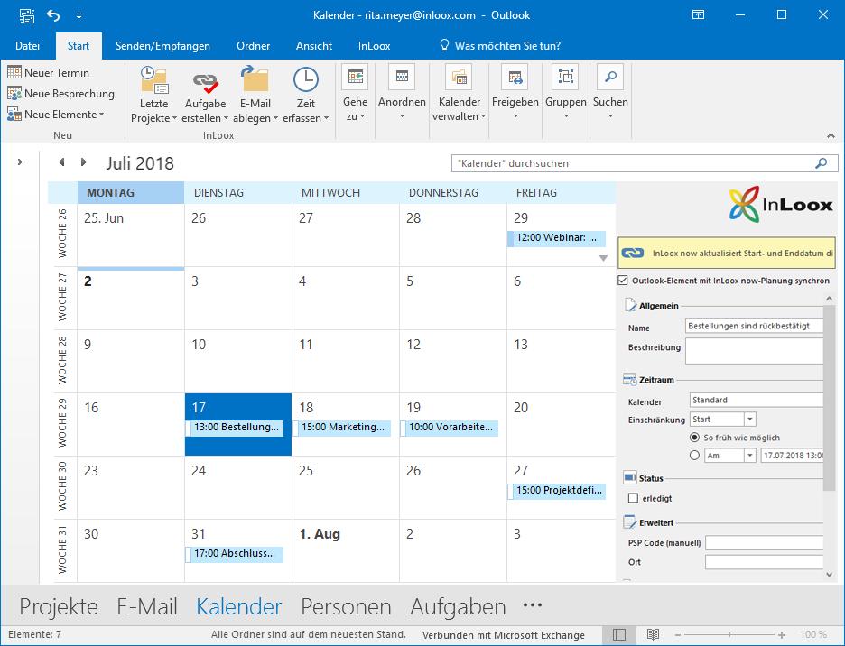 InLoox 10 für Outlook: Synchronisierung mit dem Outlook-Kalender
