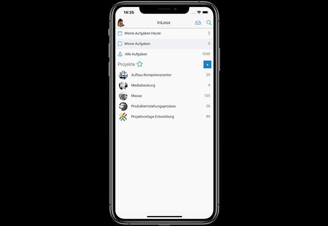 InLoox Mobile App: Die Projektliste