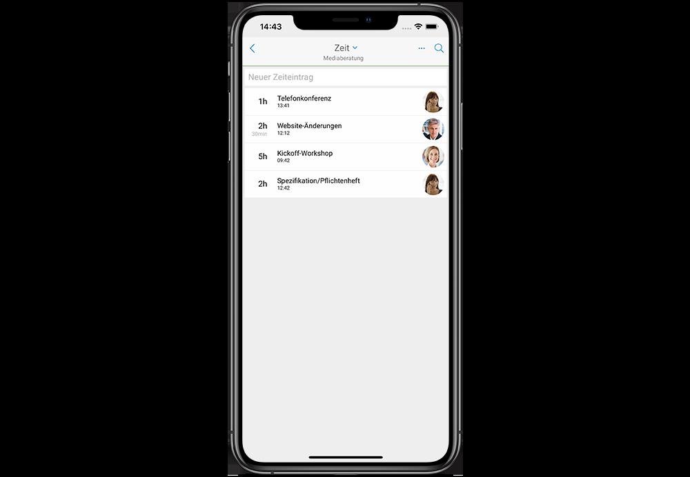 InLoox Mobile App: Zeiterfassung