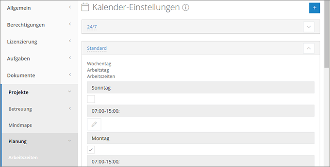 InLoox Web App: Arbeitszeitkalender