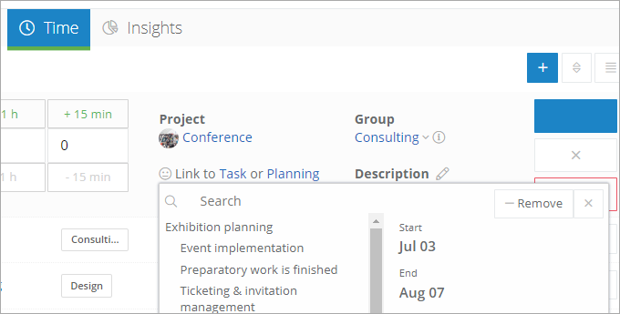 InLoox Web App: Assignment to the Project Plan