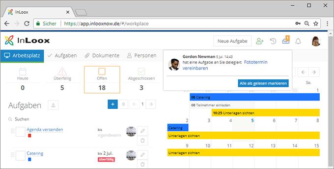 InLoox Web App: Benachrichtigungen