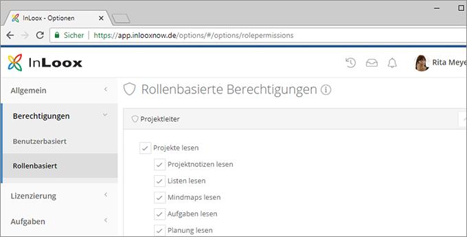 InLoox Web App:Berechtigungskonzept - Rollen- und Kontenbasierte Berechtigungen