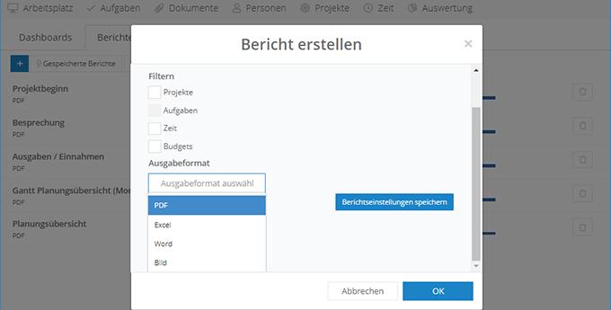 InLoox Web App:Berichte erstellen