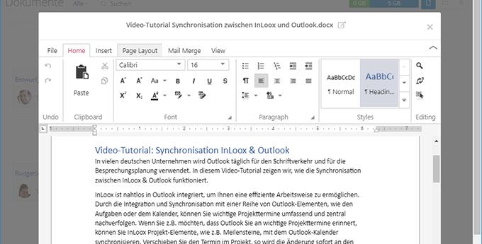 InLoox Web App: Dokumente im Browser bearbeiten