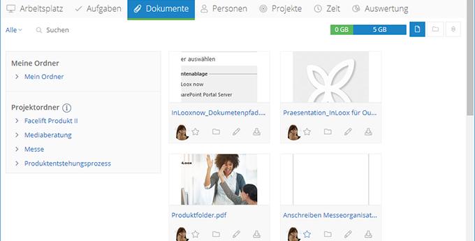 InLoox Web App: Dokumenten-Ordneransicht