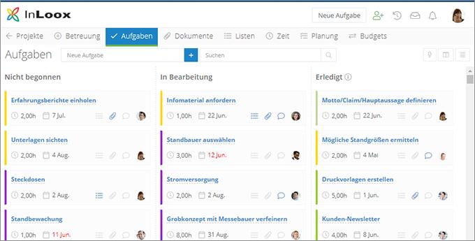 InLoox Web App. Kanban-Tafel