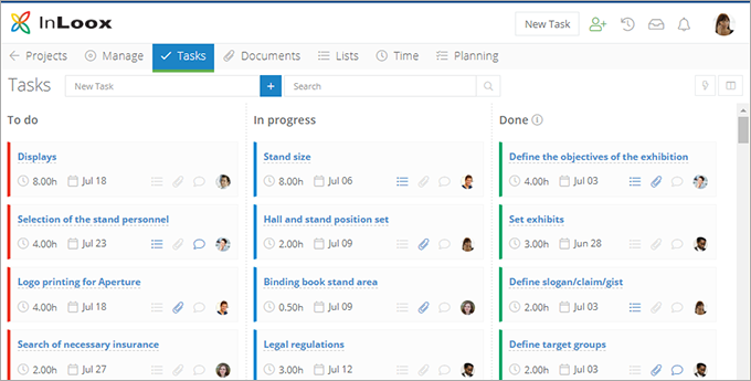 InLoox Web App. Kanban Board
