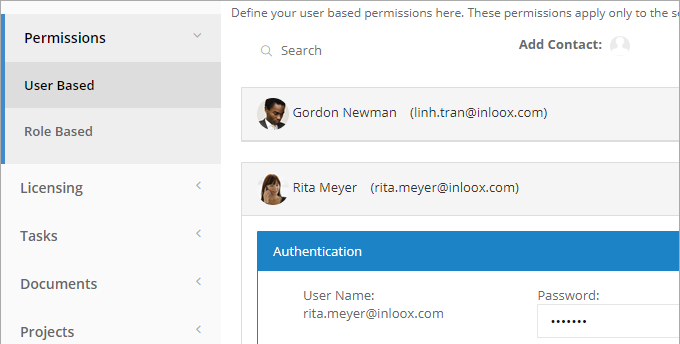 InLoox Web App: Permissions: Roles and Accounts