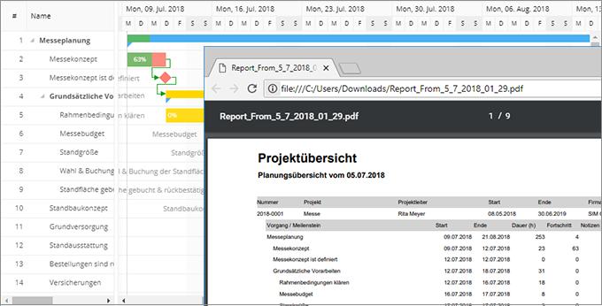 InLoox Web App: Projekt-Reporting