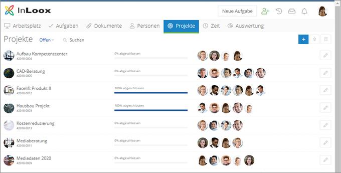 InLoox Web App: Projektliste