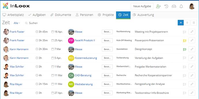 InLoox Web App: Zeiterfassung en passant