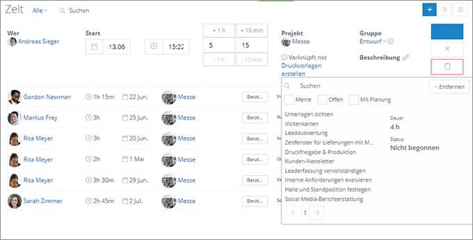 InLoox Web App: Zuordnung zum Projektplan