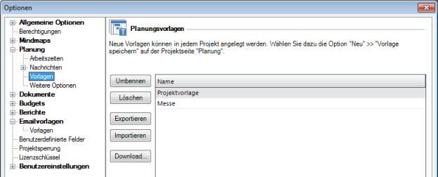 InLoox Optionen Planungsvorlagen