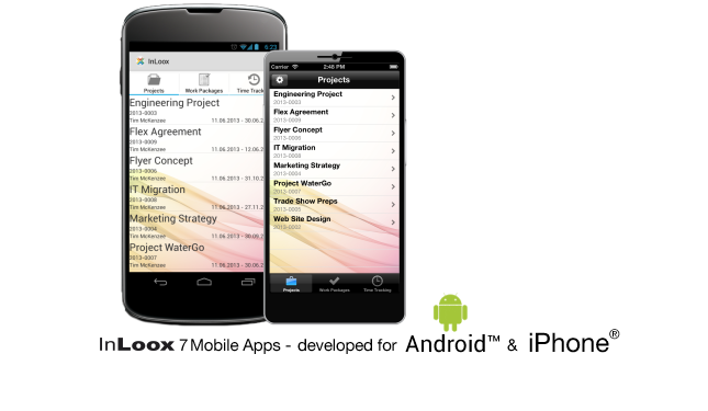 InLoox 7 Mobile Apps for iPhone and Android