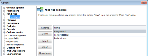 Options mind map templates