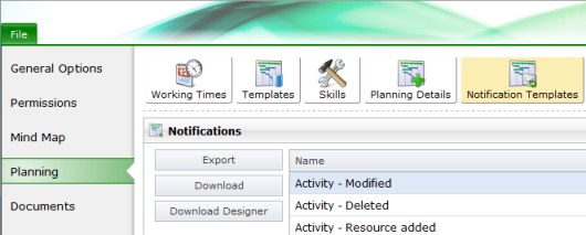Planning templates in options