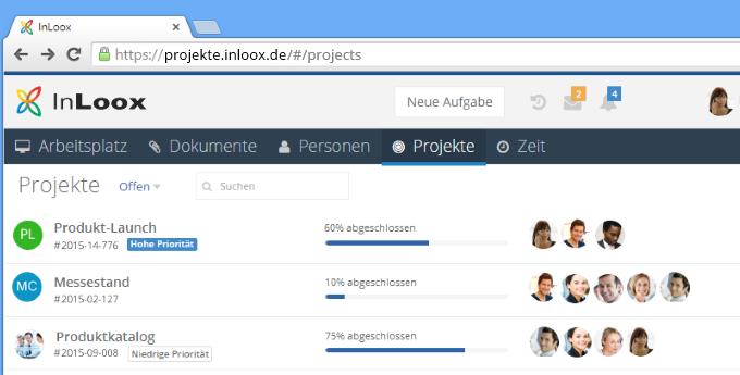 InLoox 9 Web App Projektliste