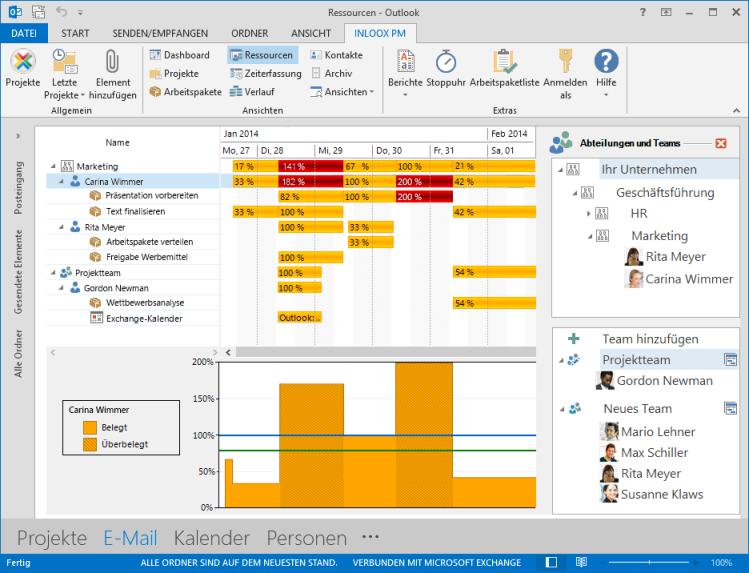 Arbeiten mit Ressourcen in InLoox PM 8 für Outlook