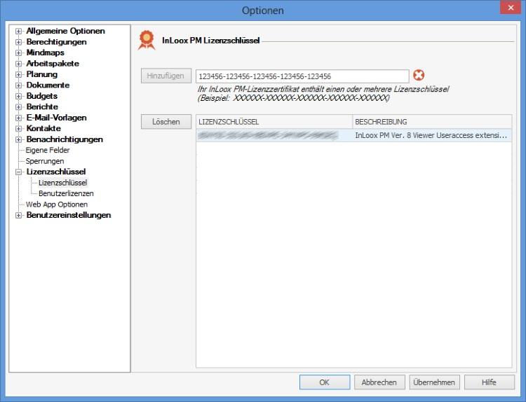 InLoox PM Lizenzschlüssel eintragen
