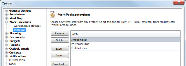 Work package_template_options